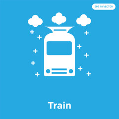 Train icon isolated on blue background