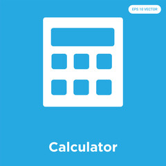 Calculator icon isolated on blue background