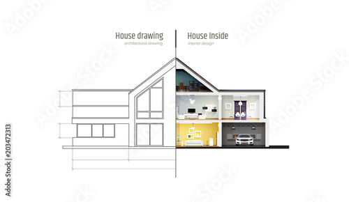 House In Cross Section Drawing Inside Interior Modern House Villa