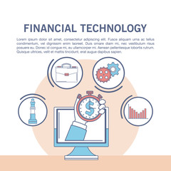 Online financial technology infographic vector illustration graphic design