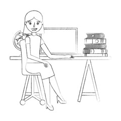 woman sitting in the office chair desk pc and books vector illustration sketch