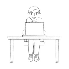 happy young man sitting at the desk in chair with laptop vector illustration sketch