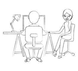 man and woman sitting at the desk and working on the computer vector illustration sketch