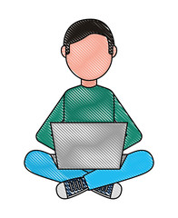 man with computer laptop character vector illustration design