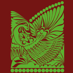 russian ornament. folklore ornament withe bird