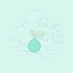 A Water drop falling from leaf surrounded by water cycle represent relation of nature and environment. Nature for water concept. Editable stroke. Vector illustration.