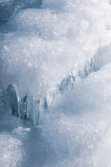 Iced water wall close up