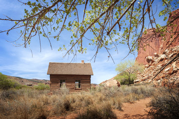 Historic Fruita, Utah Schoolhouse. The Behunin family, early settlers of the Capitol Reef area, donated the land in 1892. For over a decade the school had a dirt roof.