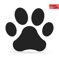 Paw Print icon Logo. Vector Illustration. Isolated vector Illustration. Black on White background.
