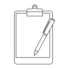 pen supply with clipboard vector illustration design
