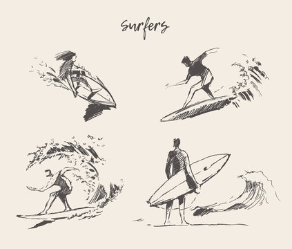 Set drawn vector young man beach surfboard sketch