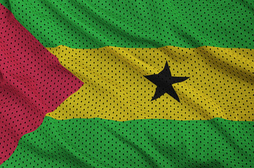 Sao Tome and Principe flag printed on a polyester nylon sportswear mesh fabric with some folds