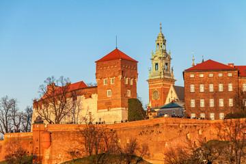 Wawel hill with royal castle in Krakow