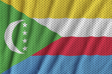 Comoros flag printed on a polyester nylon sportswear mesh fabric with some folds