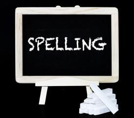Spelling text on a blackboard