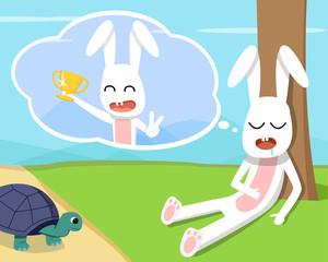 Rabbit wins the turtle in his dream, vector design