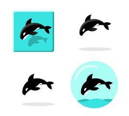 Set of Killer whale icons in flat style vector art