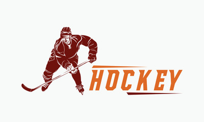 hockey player logo silhouette vector illustration