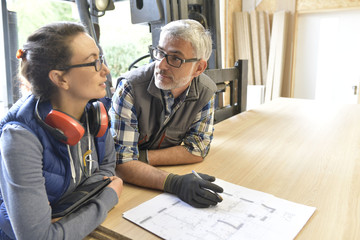 Wood industry technicians working together on project