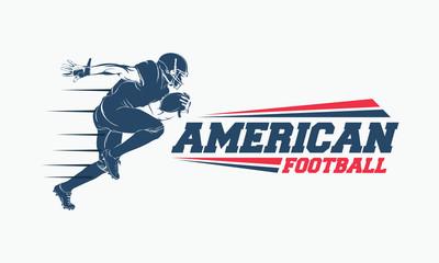 Running American football player logo silhouette, American Football logo