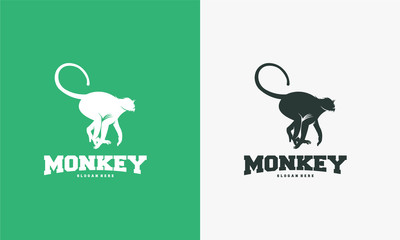 Monkey logo designs, walking monkey logo template vector