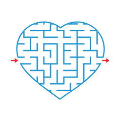 Labyrinth heart. Simple flat vector illustration isolated on white background.