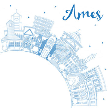 Outline Ames Iowa Skyline with Blue Buildings and Copy Space.