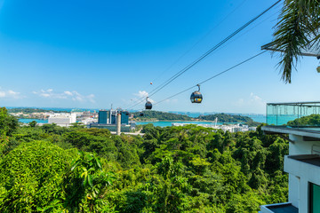 Sentosa Island, Singapore - July 01, 2016: The view from cable car.