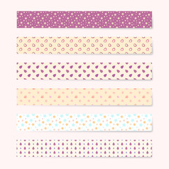 Vector colorful patterned masking tape set