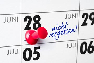 Wandkalender - 28. Juni
