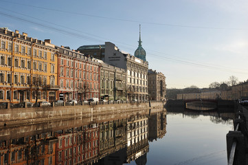 early morning on Moika embankment in St. Petersburg
