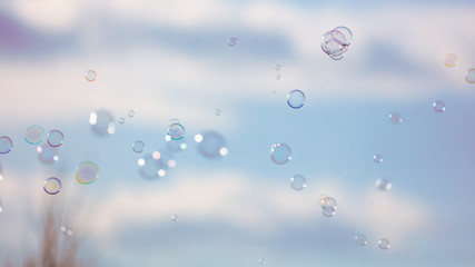 Soap bubbles in flight against the sky