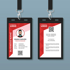 Simple Red Graphic ID Card Template