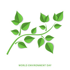 Green paper tree branch. Paper cutout green leaves. World Environment Day, June 5. Eco friendly symbol. Ecology, nature protection concept. Template for banner, poster, leaflet. Vector illustration