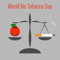 World No Tobacco Day. Libra. On one side is a cigarette. In another bowl, health in the form of an apple and a heart