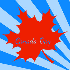 Canada Day. Blue background, rays from the corner, red maple leave