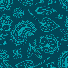 seamless pattern with paisley and oriental motifs