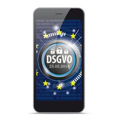 Schwarzes Smartphone DSGVO