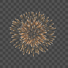 Beautiful gold firework. Couple romantic golden salute, isolated transparent background. Decoration firework for Christmas, New Year, Valentine Day celebration, holiday. Vector illustration