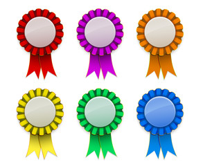 Ribbon Award badge Red Green Blue Yellow Magenta Orange on background