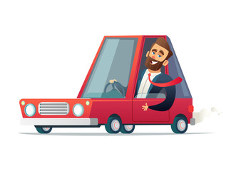 Joyful businessman driving a red car. Vector cartoon illustration