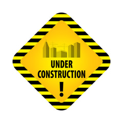 Under construction sign on white background. Vector illustration for website. Under construction rhombus with black and yellow striped borders vector illustration. Process of building.