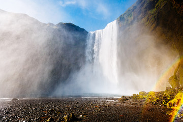 Great view of Skogafoss waterfall. Location Skoga river, Iceland.