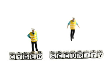 Cyber security on beads with miniature scale model security guards isolated on a white background