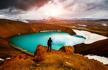 Exotic view of the geothermal valley Leirhnjukur. Location place Myvatn lake, Krafla, Iceland.