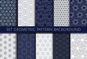 Set geometric contour pattern blue and white background. Vector Illustration