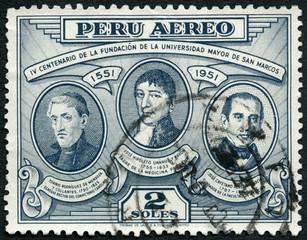 PERU - 1951: shows T. Rodriguez de Mendoza, J. Hipolito Unanue y Pavon and J. Cayetano Heredia y Garcia, 400th anniversary of the founding of San Marcos University
