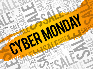 Cyber Monday word cloud collage, business concept background
