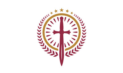 Christian Sword Badge logo design inspiration