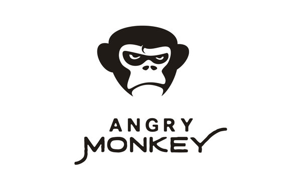 Grumpy Angry Gorilla / King Kong Monkey Face illustration logo